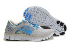 Herresko Nike Free Run+ 3 Lysgrå Blå http://www.dksko.com/nike-sko/nike-free/nike-free-run-3/herresko-nike-free-run-3-lysgra-bla.html