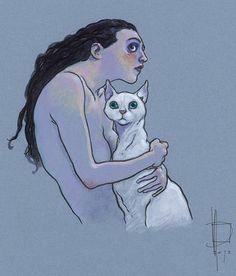 Miguelanxo Prado, «Mujer con gato albino», acrílico (30x35 cm).