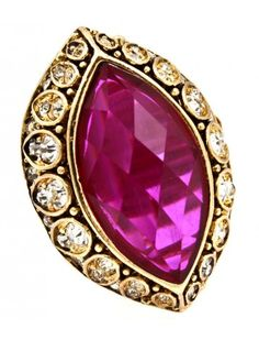 PURPLE GEM CRYSTAL BURNT GOLD VINTAGE STYLE STRETCH RING - Fashion Rings - Rings - Jewellery