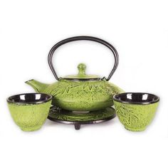 Stunning Japanese cast iron tea set with cups and a trivet! Chinese Tea Set, Japanese Tea Set, Matcha Set, Matcha Green Tea, Tea Pot Set, Pot Sets, Teapots And Cups, Asian Decor, Tea Service