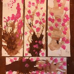 【papargmarue】さんのInstagramをピンしています。 《#japanese #cherryblossoms Made by blowing paint with a straw and finger printing the flowers. I tried to write some benign words in Japanese but probably ended up being vulgar. 3 year old, 5 year old and the right and bottom are mine. Have to work on the paint consistency next time. The symbols are supposed to read original, perfect, peace and moonshine. Going to wrap the tops over dowels and hang them on our #homeschool #japan display wall.》