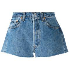 Levi's Denim Shorts (€205) ❤ liked on Polyvore featuring shorts, blue jean shorts, short jean shorts, levi shorts, blue jean short shorts and jean shorts