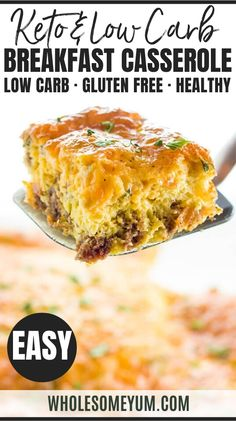 Healthy Keto Low Carb Breakfast Casserole Recipe with Sausage and Cheese - Gluten Free - A gluten-free low carb breakfast casserole recipe with sausage and cheese - just 6 ingredients! This keto sausage, egg and cheese casserole without bread is easy to customize with vegetables, too. #wholesomeyum #lowcarb #keto #breakfast #glutenfree Egg And Cheese Casserole, Low Carb Breakfast Casserole, Sausage Breakfast, Diet Breakfast, Recipes With Breakfast Sausage, Breakfast Ideas, Christmas Breakfast Casserole, Gluten Free Casserole, Healthy Low Carb Breakfast