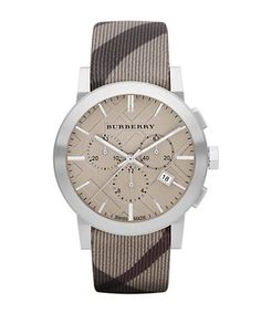 Burberry Mens Chronograph Watch with Smoke Check Strap Men's Brown
