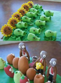 Does not get any cooler than this! Zombie Birthday Cakes, Zombie Birthday Parties, Zombie Party, Birthday Ideas, Kid Parties, 5th Birthday, Plants Vs Zombies, Party Desserts, Party Cakes