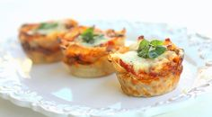 Lasagna cupcake recipe.  Uses wonton wrappers.  Sounds easy and looks delicious!