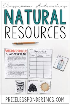 Teach your social studies class about natural resources with these worksheets and free vocabulary cards. Click the picture for more details. #iteachtoo #secondgradeteacher