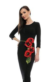 Rochie neagra din jerse cu cordon floral RO91B -  Ama Fashion