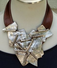 ~ Living a Beautiful Life ~ Metallic Silver and Metallic Copper Leather Bib Leather Necklace, Leather Jewelry, Metal Jewelry, Jewelry Art, Jewelry Necklaces, Fashion Jewelry, Bijoux Design, Schmuck Design, Jewelry Design