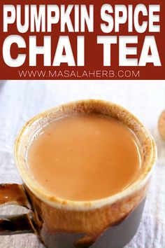 Chai Pumpkin Spice Tea Recipe - Make this with my homemade DIY pumpkin pie spice and learn which black tea to use! Warming hot spiced beverage, 5-minute beverage, cold season drink, breakfast beverage, tea time beverage, comfort drink, autumn beverage, fall beverage recipe, healthy drink, chai latte, www.MasalaHerb.com