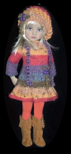 Handknit dress set made for Effner little darling dolls. SOLD for $80.99 on 9/10/15
