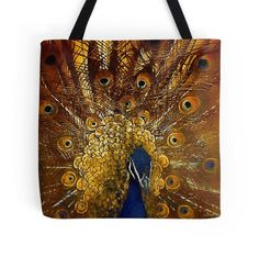 'Golden Peacock' Tote Bag by Mandy Collins Large Bags, Small Bags, Medium Bags, Cotton Tote Bags, Are You The One, Peacock, Photo Art, Prints, Stuff To Buy