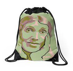 Virginia Woolf green drawstring bag by savantdesigns