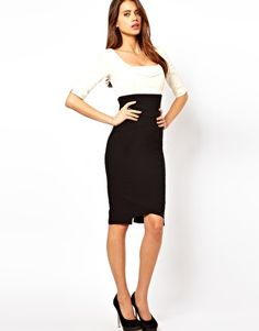Pennis Enlargement - Enlarge Hybrid Pencil Dress In Two Tone - How To Increase Your Penis Size Naturally Without Surgery, Pills, Suction Devices Or Crazy Contraptions! Work Fashion, Latest Fashion Clothes, Fashion Dresses, Midi Dresses, Free Clothes, Clothes For Women, Work Clothes, Going Out Dresses, Dresses For Work