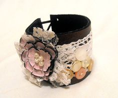 Leather and lace cuff bracelet. Shabby chic leather bracelet