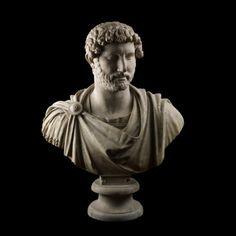 Marble bust of the emperor Hadrian wearing military dress    From Hadrian's Villa, Tivoli, Lazio, Italy  AD 117-118