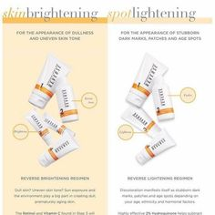 Exciting news!!!  We have a NEW product that launches TODAY!!! There are now TWO ways to get an even skin tone with the Reverse regimen...    Introducing REVERSE BRIGHTENING and the ***NEW*** REVERSE LIGHTENING!    Check it out!!  https://dawnotteson.myrandf.com/pages/reverse-age-spot-lightening-skin-brightening