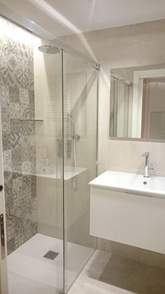 cool tiny house bathroom remodel design ideas 27 < Home Design Ideas Laundry Room Bathroom, Narrow Bathroom, Tiny House Bathroom, Upstairs Bathrooms, Ensuite Bathrooms, Modern Bathroom, Light Grey Bathrooms, Bathroom Tile Designs, Bathroom Design Small