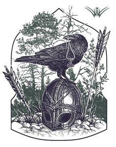 Viking helmet, arrows and Raven with Mjolnir Art.