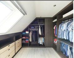 Attic Bedroom Storage, Bedroom Built In Wardrobe, Closet Bedroom, Home Decor Bedroom, Loft Conversion Dressing Room, Loft Conversion Bedroom, Attic Spaces, Attic Rooms, Garderobe Design