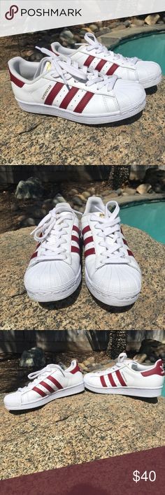 503ac0bc27908a Adidas Superstar white and burgundy EUC Youth size 4 will fit women s size  6.