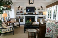 Great way to incorporate a tv over the mantel without it looking out of place. From classic • casual • home blog.