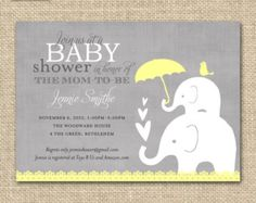 Editable Baby Shower Invitation Yellow and Grey Elephant
