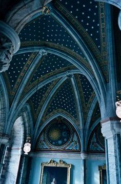 Marble Hall, Mount Stuart, Isle of Bute  The centerpiece of the house is a three-story marble hall with an 80-foot ceiling. Its colonnades, stained-glass windows and vaulted ceiling are decorated with stars and planets, reflecting the 3rd Marquess's interest in astrology.