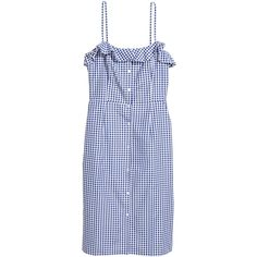 Sleeveless Dress $49.99 ($50) ❤ liked on Polyvore featuring dresses, blue checked dress, flounce dress, sleeveless cotton dress, sleeveless dress and frilly dresses