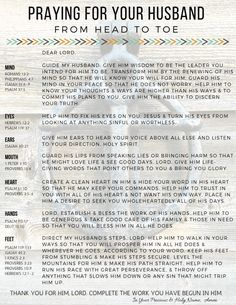 Battling for our husbands in prayer is essential and a great priviledge. This printable will help guide you as you cover him from head to toe in prayer. Praying For Future Husband, Praying For Your Husband, Praying Wife, Loving Your Husband, Husband Love, Prayer Scriptures, Prayer Quotes, Quotes Quotes, Crush Quotes