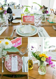 colorful and simple place settings @weddingchicks