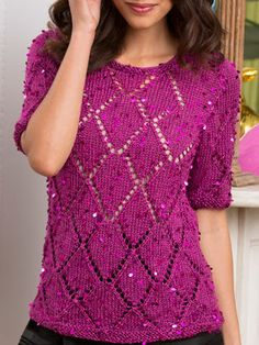 Diamonds are a Girl's Best Friend Top Uses #4 worsted weight yarn w/sequins in it
