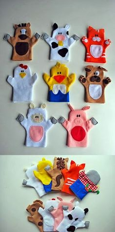 Old MacDonald puppet tutorial. Adorable hand puppets made from felt. Patterns for all animals shown, plus Old McDonald himself. - would be cool to shrink down and do as finger puppets! Felt Puppets, Felt Finger Puppets, Animal Hand Puppets, Kids Crafts, Felt Crafts, Puppet Crafts, Family Crafts, Fabric Crafts, Sewing For Kids