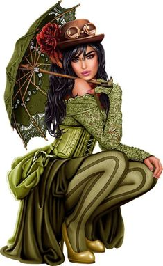 Women's Guide to Steampunk Clothing & Fashion Dressing up is fun, and steampunk incorporates some of the best elements of dress-up, especially for women Fantasy Art Women, Fantasy Girl, Beautiful Fantasy Art, Bd Art, Chica Fantasy, Digital Art Girl, Steampunk Fashion, Erotic Art, Fashion Sketches