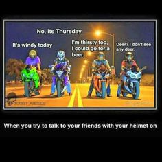I'm trying to talk to your friends with a helmet - .- Ich versuche mit deinen Freunden mit Helm zu reden – I'm trying to talk to your friends with a helmet – # - Bike Humor, Motorcycle Humor, Car Humor, Motorcycle Tips, Women Motorcycle, Motorcycle Helmets, Really Funny Memes, Stupid Funny Memes, Funny Relatable Memes
