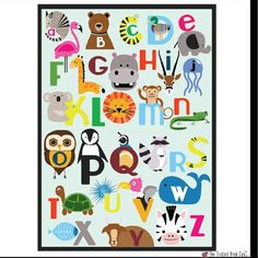 New downloadable print on our store! If you want it already printed poster size pls DM me!Wish I had this growing up! I'm such a picture person when it comes to learning! #etsy #art #shop #poster #print #animal #abc #alphabet #baby #nursery #learn #education #teacher #colors #tickledpinkfox #whale #flamingo #woodlands Animal Alphabet, Abc Alphabet, Cute Poster, Things To Come, Nursery, Kids Rugs, Posters, Photo And Video, Learning