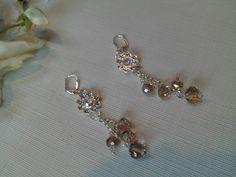 Rainbow AB Crystal Wedding Earrings, Champagne Crystal Wedding Earrings, Bridal Earrings, Holiday Earrings, Cascading Earrings, Holiday Sale by Chersgifts on Etsy