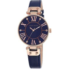 Anne Klein Anne Klein Navy Dial Rose Tone Case Navy Leather Strap... ($84) ❤ liked on Polyvore featuring jewelry, watches, buckle jewelry, sparkle jewelry, leather-strap watches, anne klein watches and leather jewelry