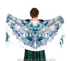 Butterfly wings scarf, bohemian shawl, Aqua, hand painted, digital print, sarong, perfect gift