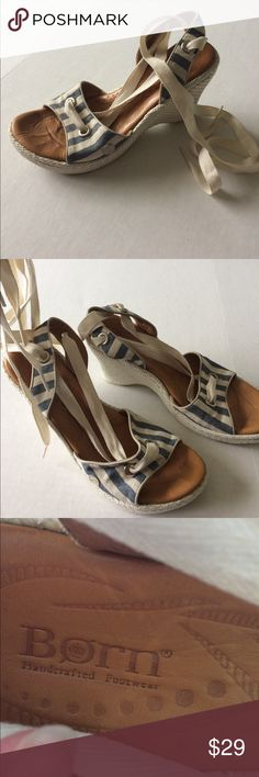 """BORN Lace up shoes!! Gorgeous blue and white BORN brand wedge sandals!! I don't see a size on the shoe so follow measurements. Bottom is 9"""" I am guessing a 7/7.5? Born Shoes Sandals"""