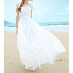 Short Sleeve Wide Hem Round Neck Solid Color 3D Petal Design Dress For Women