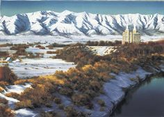 This painting depicts the Logan, Utah Temple amidst the winter splendor of Cache Valley. Utah Temples, Lds Temples, Logan Temple, Panning For Gold, Splash Park, Lds Art, A Day In Life, Art Images, Fine Art