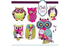 Woodland Owls retro clip art #scrapbooking #digitalcollagesheet