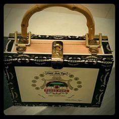 Cigar box purse Martini theme / leopard lining Bags