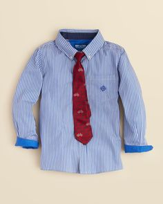 Andy & Evan Boys' Stripe Woven Shirt & Bicycle Tie Set - Sizes 5-7