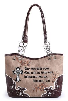 Western Cowgirl Faux Trimmed Bible Verse Cross Accented Bucket Tote Bag #GetEverythingElse #TotesShoppers