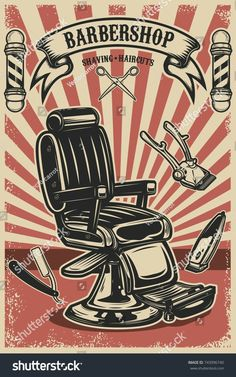 Barber chair and tools on grunge background. Design element for emblem, sign, poster, card, banner. Barber Poster, Barber Logo, Smal Tattoo, Barber Shop Decor, Barbershop Design, Shop Logo, Shop Signs, Vintage Ads, Wall Collage