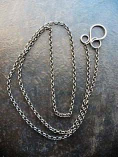 20 inch Antiqued Sterling Silver Filled Rolo Chain Necklace with Hammered Sterling Hook Clasp
