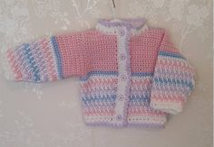 Baby girl's cardigan newborn cardigan0-3 months pink Baby Girl Cardigans, Lilac Flowers, Blue Cardigan, Button Flowers, Double Knitting, Pastel Blue, 3 Months, Pink White, Pretty
