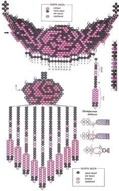 плетение из бисера колье, колье из бисера схемы плетения, плоские схемы из бисера